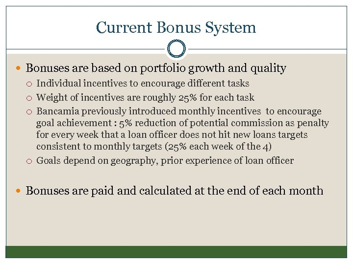 Current Bonus System Bonuses are based on portfolio growth and quality Individual incentives to