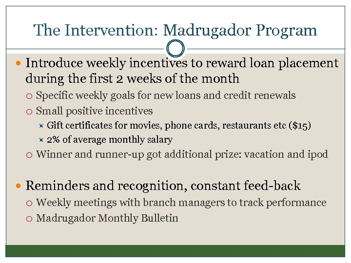 The Intervention: Madrugador Program Introduce weekly incentives to reward loan placement during the first