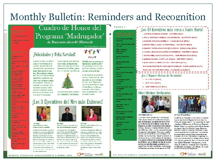 Monthly Bulletin: Reminders and Recognition