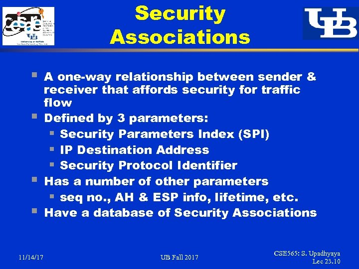 Security Associations § § 11/14/17 A one-way relationship between sender & receiver that affords