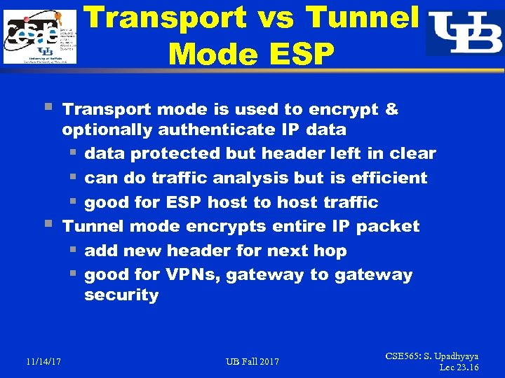 Transport vs Tunnel Mode ESP § § 11/14/17 Transport mode is used to encrypt