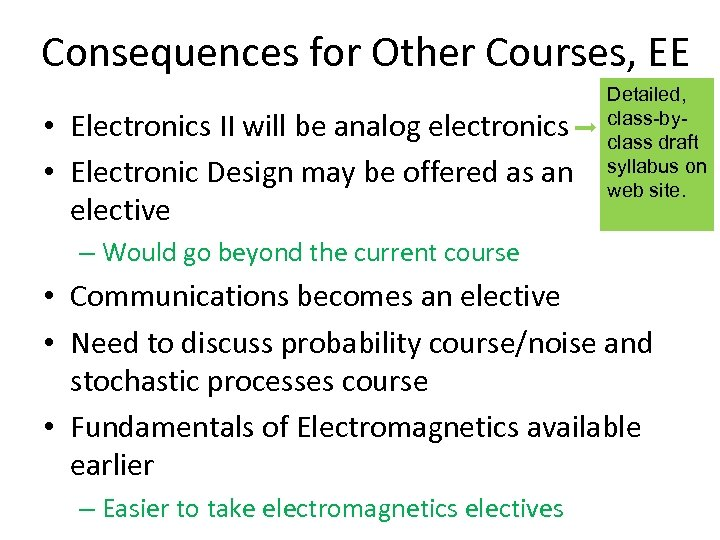 Consequences for Other Courses, EE • Electronics II will be analog electronics • Electronic
