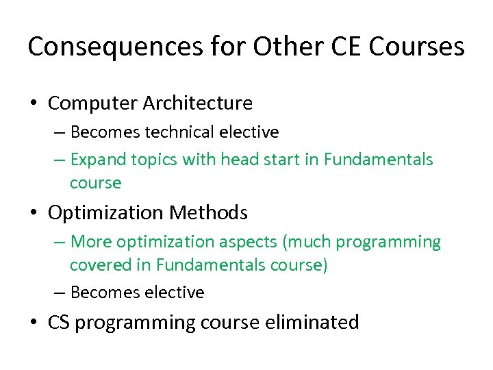 Consequences for Other CE Courses • Computer Architecture – Becomes technical elective – Expand