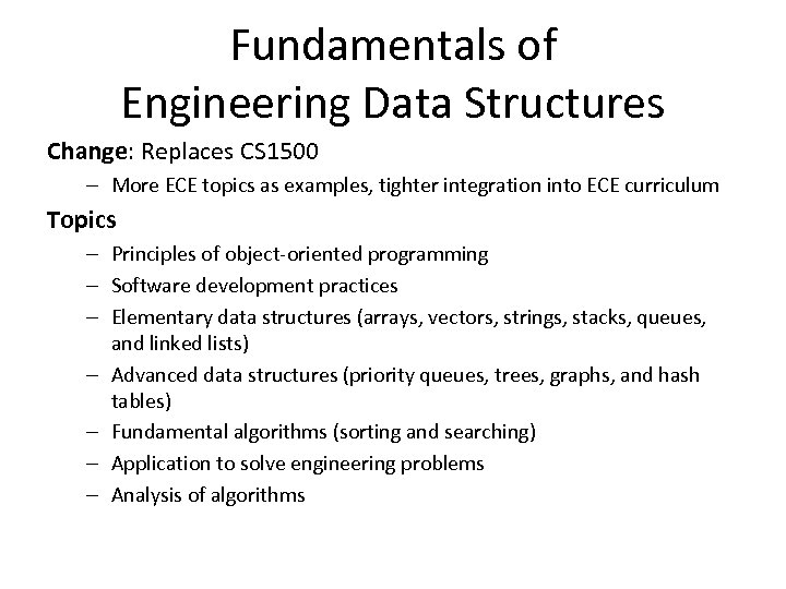 Fundamentals of Engineering Data Structures Change: Replaces CS 1500 – More ECE topics as