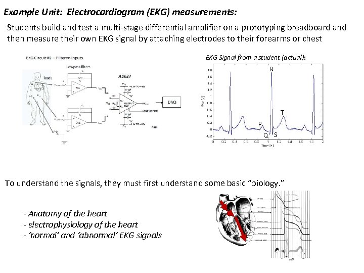 Example Unit: Electrocardiogram (EKG) measurements: Students build and test a multi-stage differential amplifier on