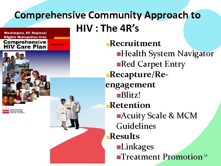 Comprehensive Community Approach to HIV : The 4 R's Recruitment n. Health System Navigator