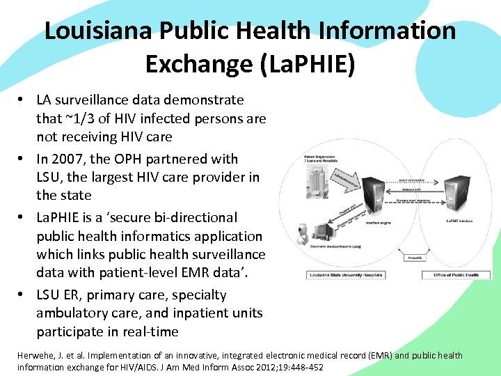 Louisiana Public Health Information Exchange (La. PHIE) • LA surveillance data demonstrate that ~1/3