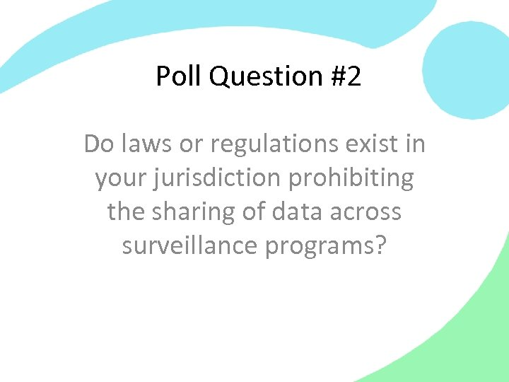 Poll Question #2 Do laws or regulations exist in your jurisdiction prohibiting the sharing