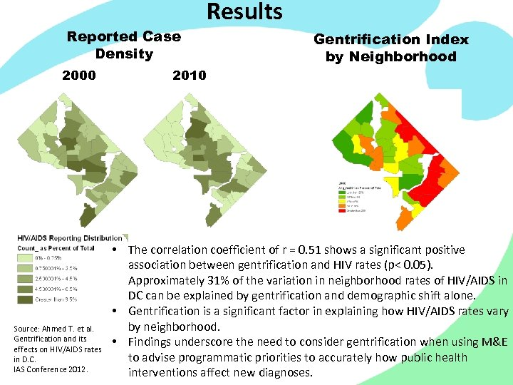 Reported Case Density 2000 Source: Ahmed T. et al. Gentrification and its effects on