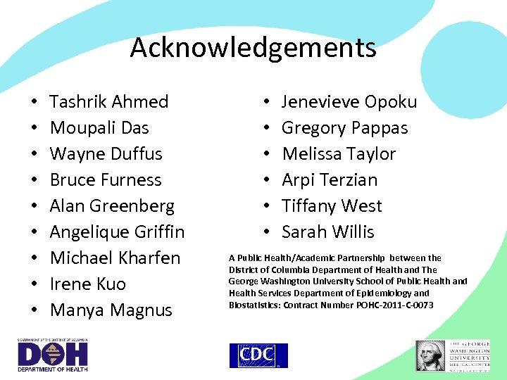 Acknowledgements • • • Tashrik Ahmed Moupali Das Wayne Duffus Bruce Furness Alan Greenberg