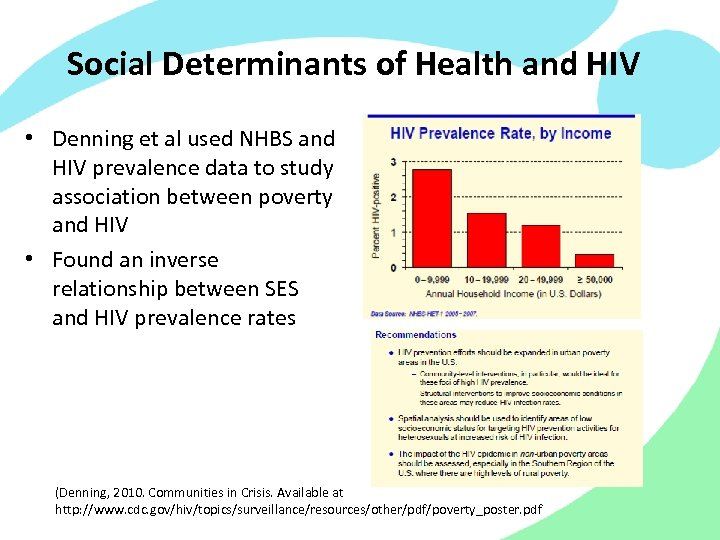 Social Determinants of Health and HIV • Denning et al used NHBS and HIV