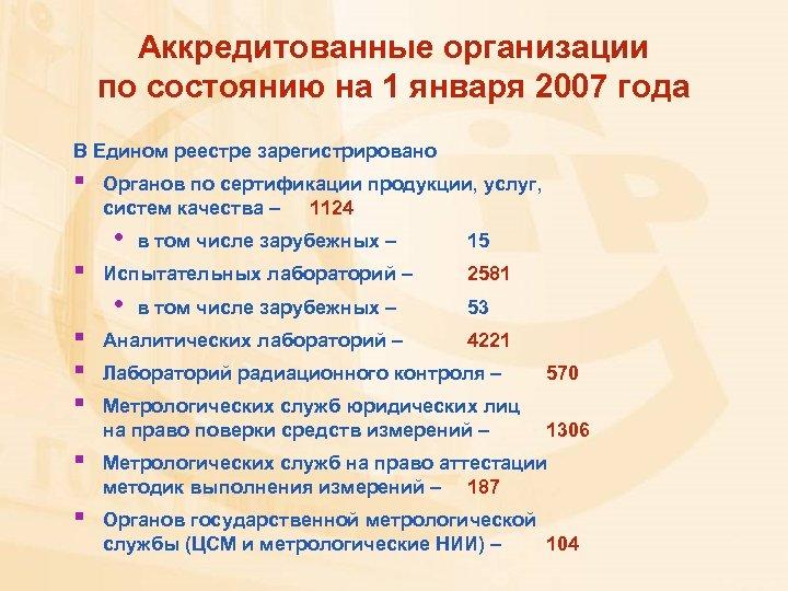 Аккредитованные организации по состоянию на 1 января 2007 года В Едином реестре зарегистрировано §