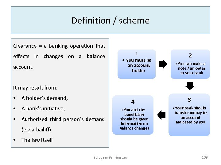 Definition / scheme Clearance = a banking operation that effects in changes on a