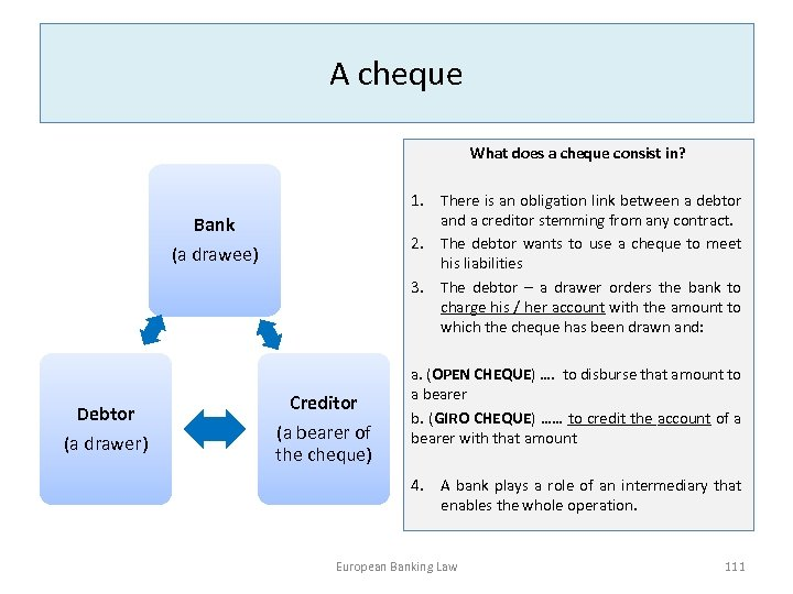 A cheque What does a cheque consist in? 1. There is an obligation link