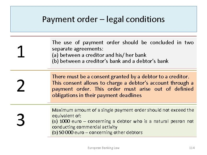 Payment order – legal conditions 1 The use of payment order should be concluded