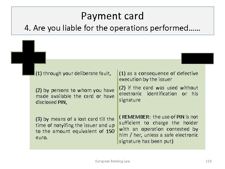 Payment card 4. Are you liable for the operations performed…… (1) through your deliberate