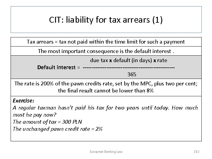 CIT: liability for tax arrears (1) Tax arrears = tax not paid within the