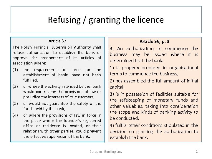 Refusing / granting the licence Article 37 The Polish Financial Supervision Authority shall refuse