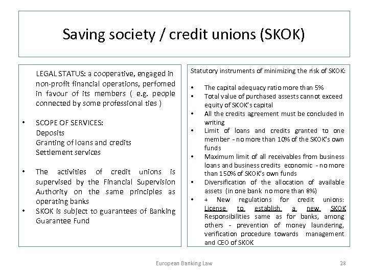 Saving society / credit unions (SKOK) LEGAL STATUS: a cooperative, engaged in non-profit financial