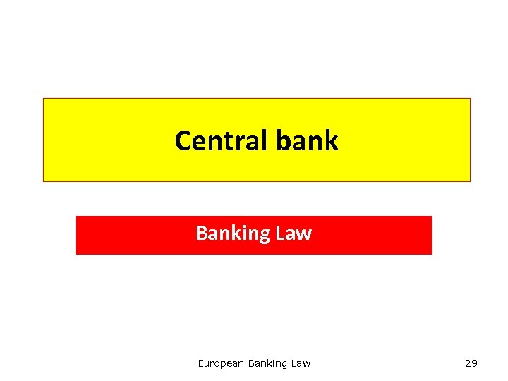 Central bank Banking Law European Banking Law 29