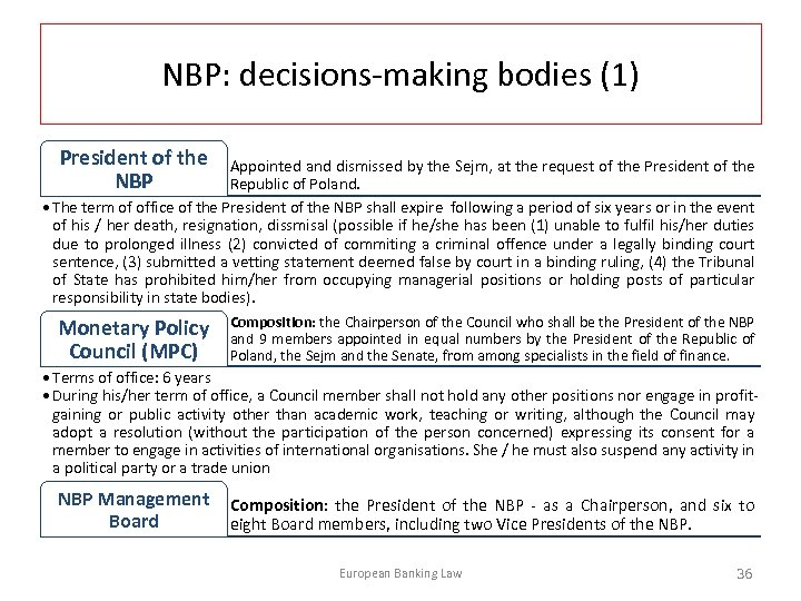 NBP: decisions-making bodies (1) President of the NBP Appointed and dismissed by the Sejm,