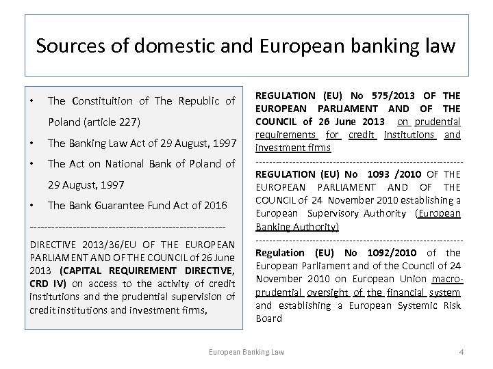 Sources of domestic and European banking law • The Constituition of The Republic of