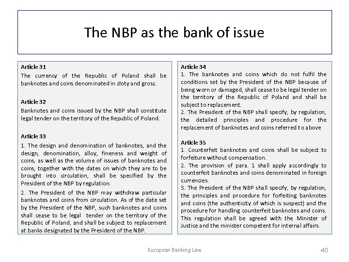 The NBP as the bank of issue Article 31 The currency of the Republic