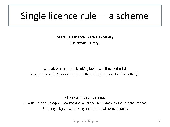 Single licence rule – a scheme Granting a licence in any EU country (i.