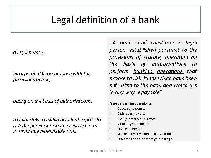 """Legal definition of a bank """"A bank shall constitute a legal person, incorporated in"""