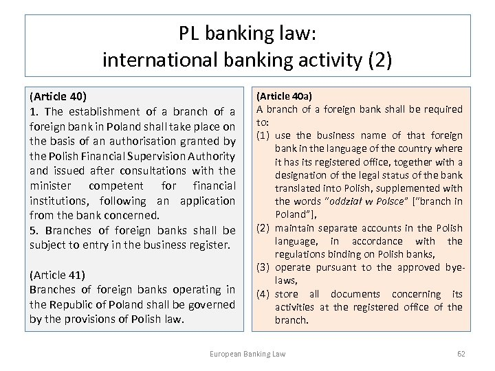PL banking law: international banking activity (2) (Article 40) 1. The establishment of a