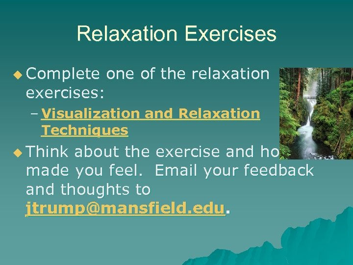 Relaxation Exercises u Complete one of the relaxation exercises: – Visualization and Relaxation Techniques
