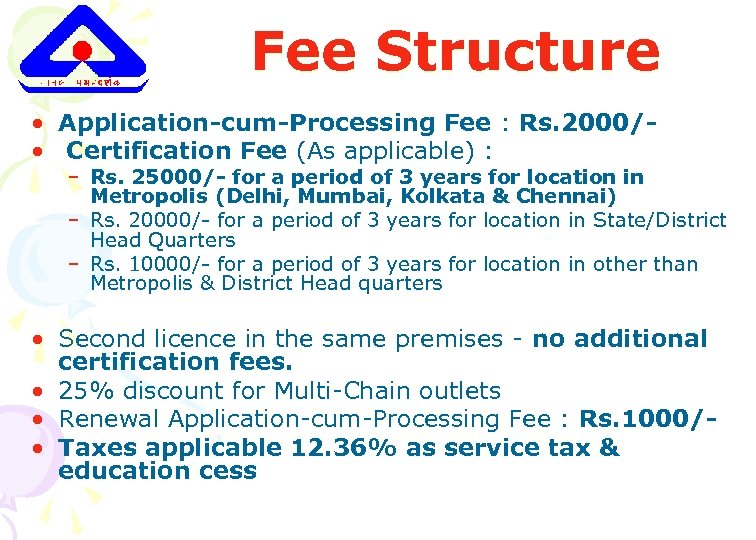 Fee Structure • Application-cum-Processing Fee : Rs. 2000/ • Certification Fee (As applicable) :