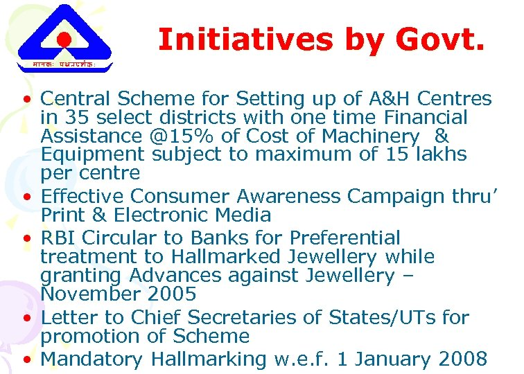 Initiatives by Govt. • Central Scheme for Setting up of A&H Centres in 35
