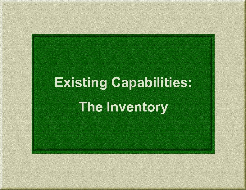 Existing Capabilities: The Inventory