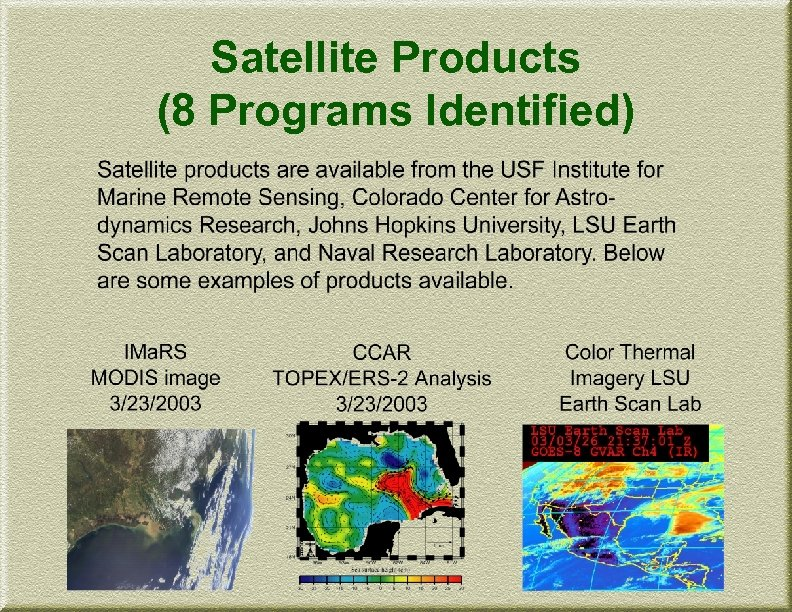 Satellite Products (8 Programs Identified)