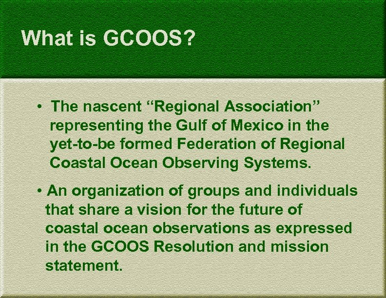 "What is GCOOS? • The nascent ""Regional Association"" representing the Gulf of Mexico in"