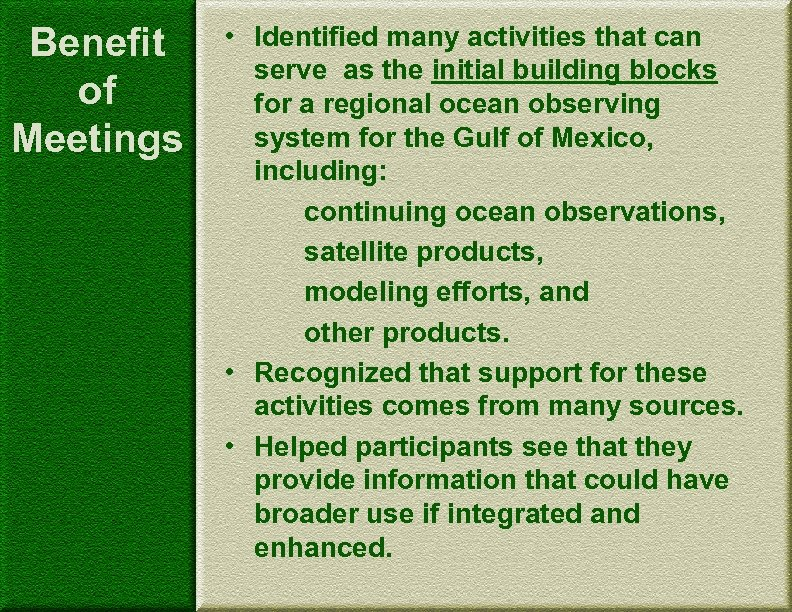 Benefit of Meetings • Identified many activities that can serve as the initial building