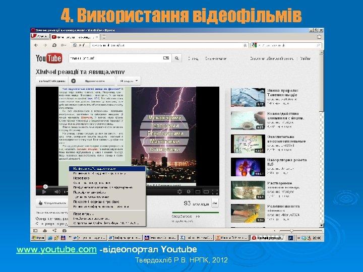 4. Використання відеофільмів www. youtube. com -відеопортал Youtube Твердохліб Р. В. НРПК, 2012