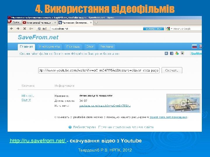 4. Використання відеофільмів http: //ru. savefrom. net/ - скачування відео з Youtube Твердохліб Р.