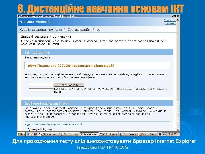 8. Дистанційне навчання основам ІКТ Для проходження тесту слід використовувати бровзер Internet Explorer Твердохліб