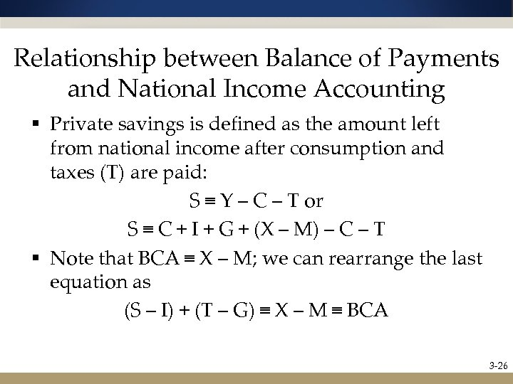 Relationship between Balance of Payments and National Income Accounting § Private savings is defined