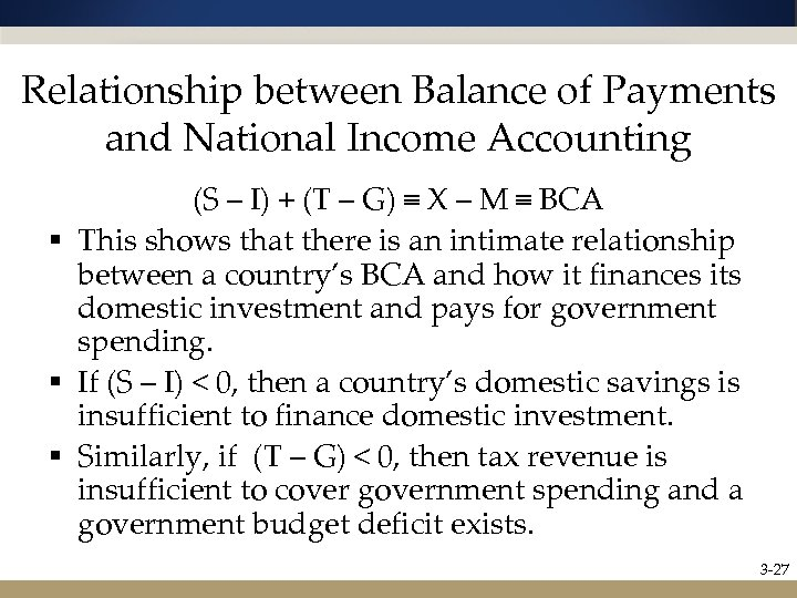 Relationship between Balance of Payments and National Income Accounting (S – I) + (T