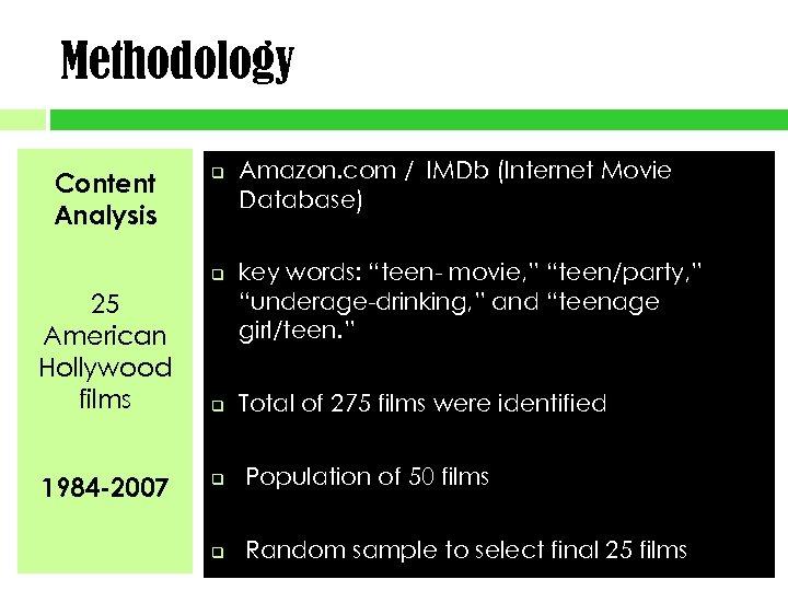 Methodology Content Analysis q q 25 American Hollywood films 1984 -2007 q Amazon. com