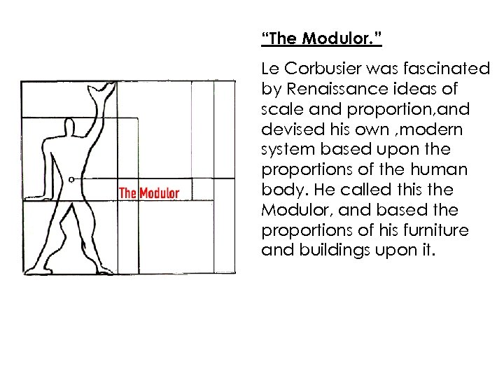 """""""The Modulor. """" Le Corbusier was fascinated by Renaissance ideas of scale and proportion,"""