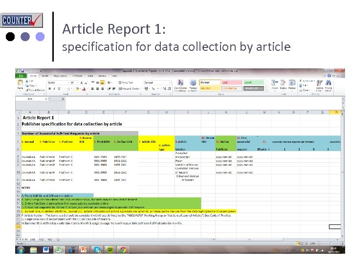 Article Report 1: specification for data collection by article