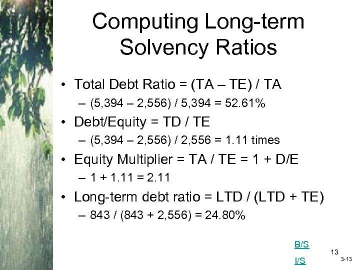 Computing Long-term Solvency Ratios • Total Debt Ratio = (TA – TE) / TA