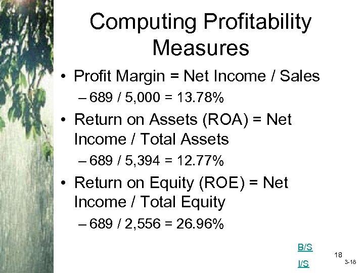 Computing Profitability Measures • Profit Margin = Net Income / Sales – 689 /