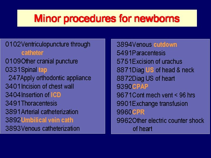 Minor procedures for newborns 0102 Ventriculopuncture through catheter 0109 Other cranial puncture 0331 Spinal