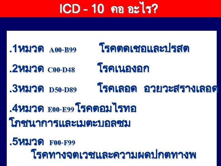 ICD – 10 คอ อะไร? . 1หมวด A 00 -B 99 โรคตดเชอและปรสต . 2หมวด
