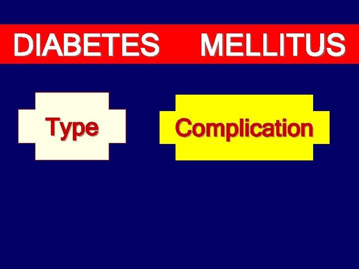 DIABETES Type MELLITUS Complication